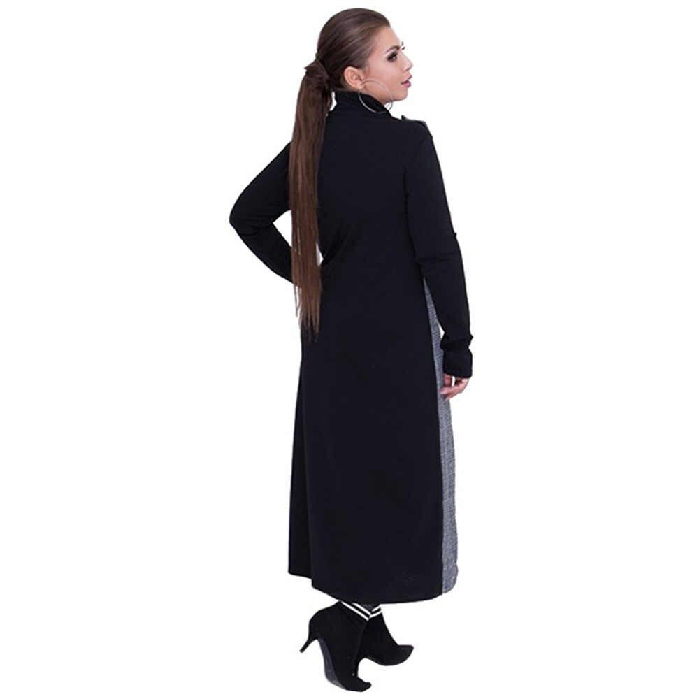 Wisalo 2019 осеннее женское платье с цветным блоком в стиле пэчворк из двух частей, с высоким воротником, с длинным рукавом и круглым вырезом, повседневное Длинное Макси платье 6XL