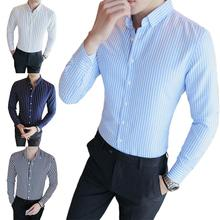 Mens Shirts Business Long Sleeve Casual Shirt T-shirt Tops Buttons All Match Polyester Business Men Striped Shirt for Dating