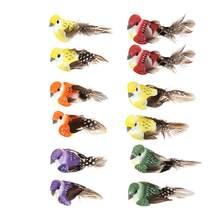12 unids/set pájaros falsos Artificial de la pluma de pájaro de decoración de animales de casa jardín cumpleaños regalo arte pájaro modelos