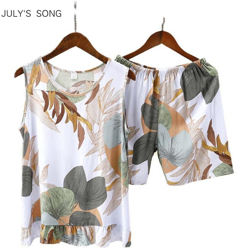 JULY'S SONG Sleeveless Summer Female Pyjamas Cute Printed Tops And Shorts Women Comfortable Nightwear Sleepwear Pajamas Suit