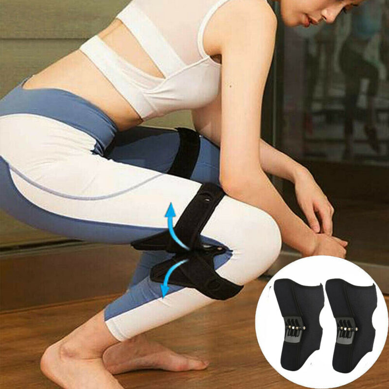 2PC Power Lift Joint Support Knee Brace Pads Breathable Climbing Support Knee Pad Rebound Spring Force Elastic Knee Support