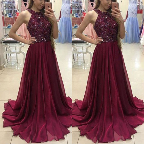 Fashion Women Dress Sexy Ladies Sleeveless Lace Long Bodycon Women Formal Wedding Ball Gown Party Halter Sequin Maxi Dress
