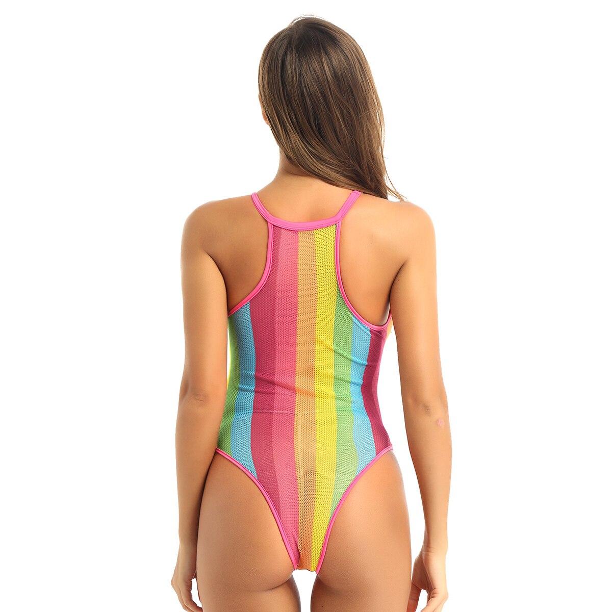 Lingerie Exotic Dancer Stripper Striped Monokini  teddie romper 4 color choices