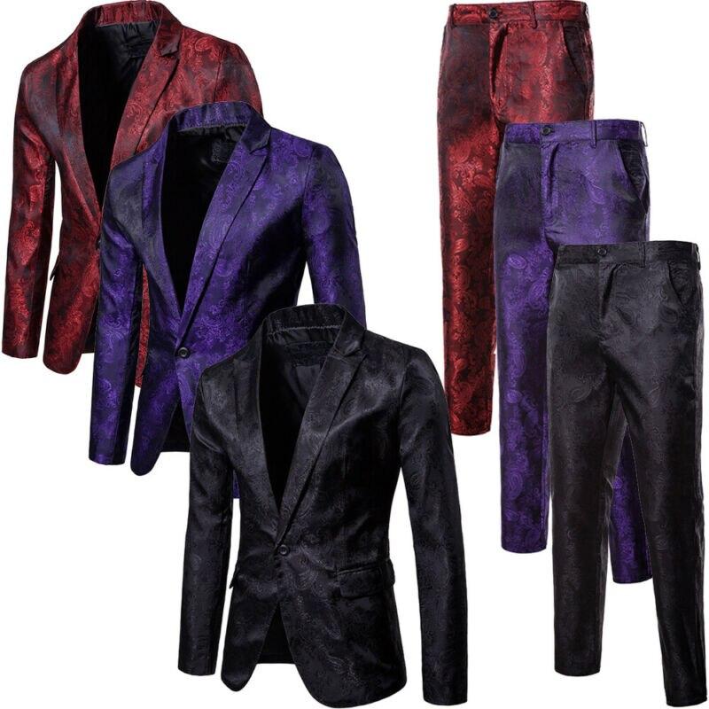 Brand Men's Solid Suit Set 2 Pcs Jackets + Pants Men Blazers Sets Wedding Party Formal Business Work Suit Arrival