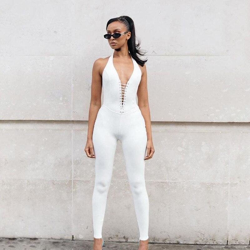 Sexy Deep V Neck Grommet Lace Up Backless Fitness Jumpsuit Summer 2020 Sportswear Split Hem Pants Legging Rompers Women Jumpsuit