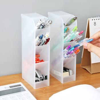 Wielofunkcyjne pojemniki na śmieci na biurko stojak na pędzelki do makijażu pudełka szkolne akcesoria biurowe organizator biurowy tanie i dobre opinie CN (pochodzenie) Multifunction Desktop Debris Storage Organizer Box For Pen Makeup Bru Z tworzywa sztucznego Ekologiczne