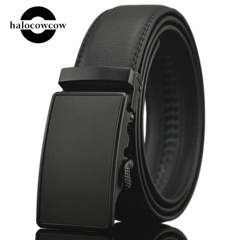 160 170 180cm Business Genuine Leather Belts For Men Alloy Automatic Buckle Male Belts Cummerbunds Leather Belt Men Black Belt