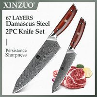 XINZUO 2 PCS Kitchen Knives Set Damascus Steel High Carbon Japanese Stainless Steel 8.5+5 inch Chef Utility Knife Cooking Tools