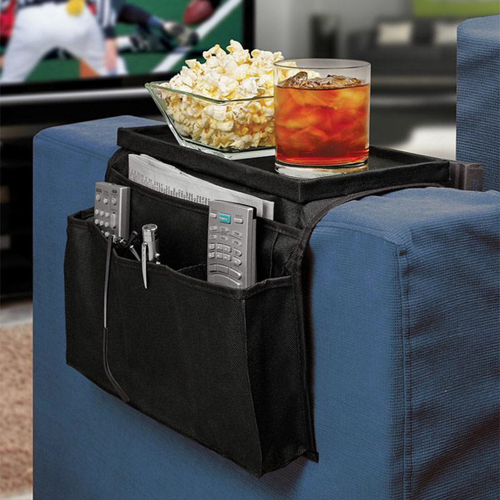 6 <font><b>Pockets</b></font> <font><b>Sofa</b></font> Handrail Couch Armrest Arm Rest Organizer <font><b>Remote</b></font> Control Holder Bag On TV <font><b>Sofa</b></font> Corrimao Braco Resto Worldwide image