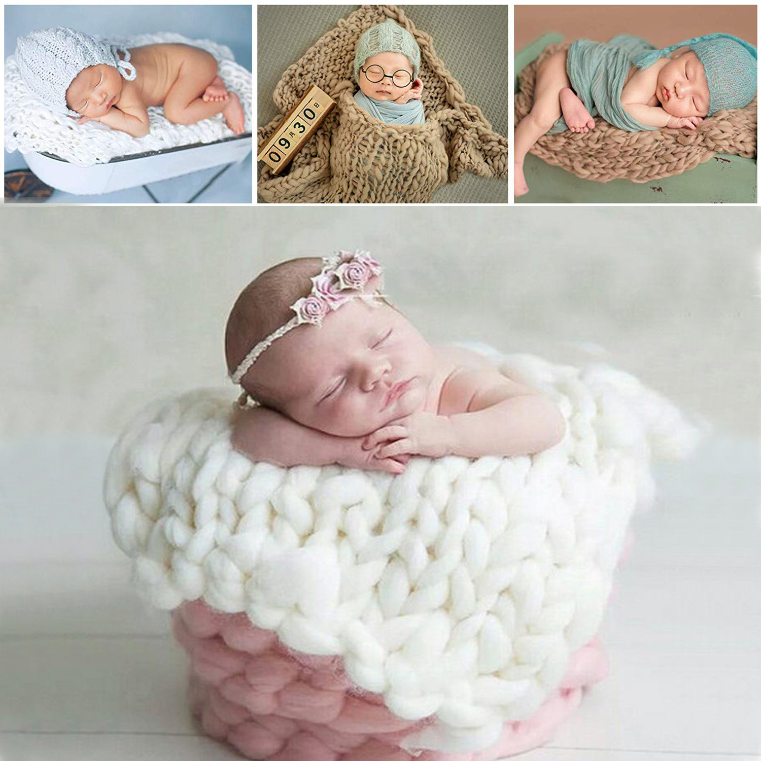 Newborn Baby Photography Props Photography Blanket Handma Woven Square Carpet Baby Photo Props Wool Blankets Accessories