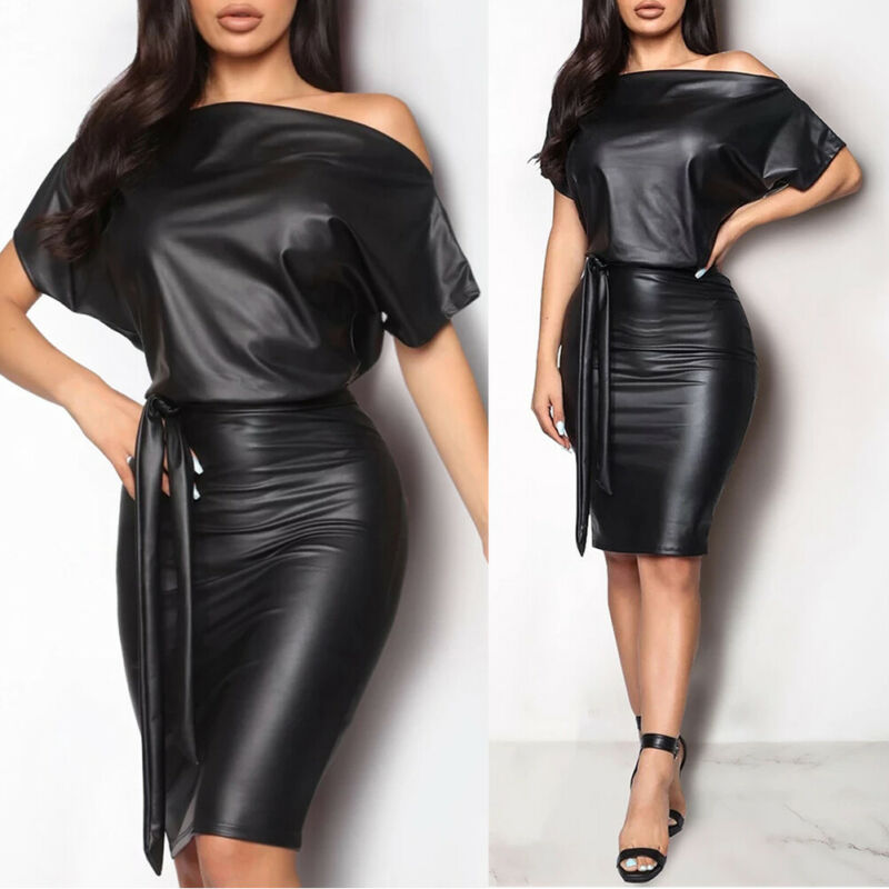 New Women PU Leather Wet Look Bodycon Bandage Party Club Sexy Mini Dress Hot image