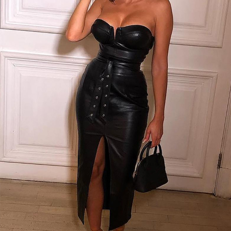 Women's Leather Split Long Dress Black High Waisted Belt Faux PU Rivet Women Tube Dresses 2020 Spring Autumn Skinny Clothes(China)