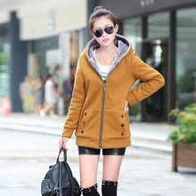 Spring Autumn Women Plus Size 7 Colors Jackets Casual Warm Coat Fleece Hooded Hoodies Streetwear