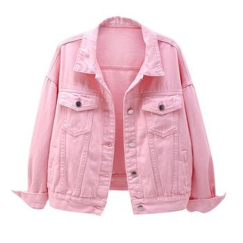 Women's plus size denim jacket spring autumn short coat pink jean jackets casual tops purple yellow white loose outerwear KW02