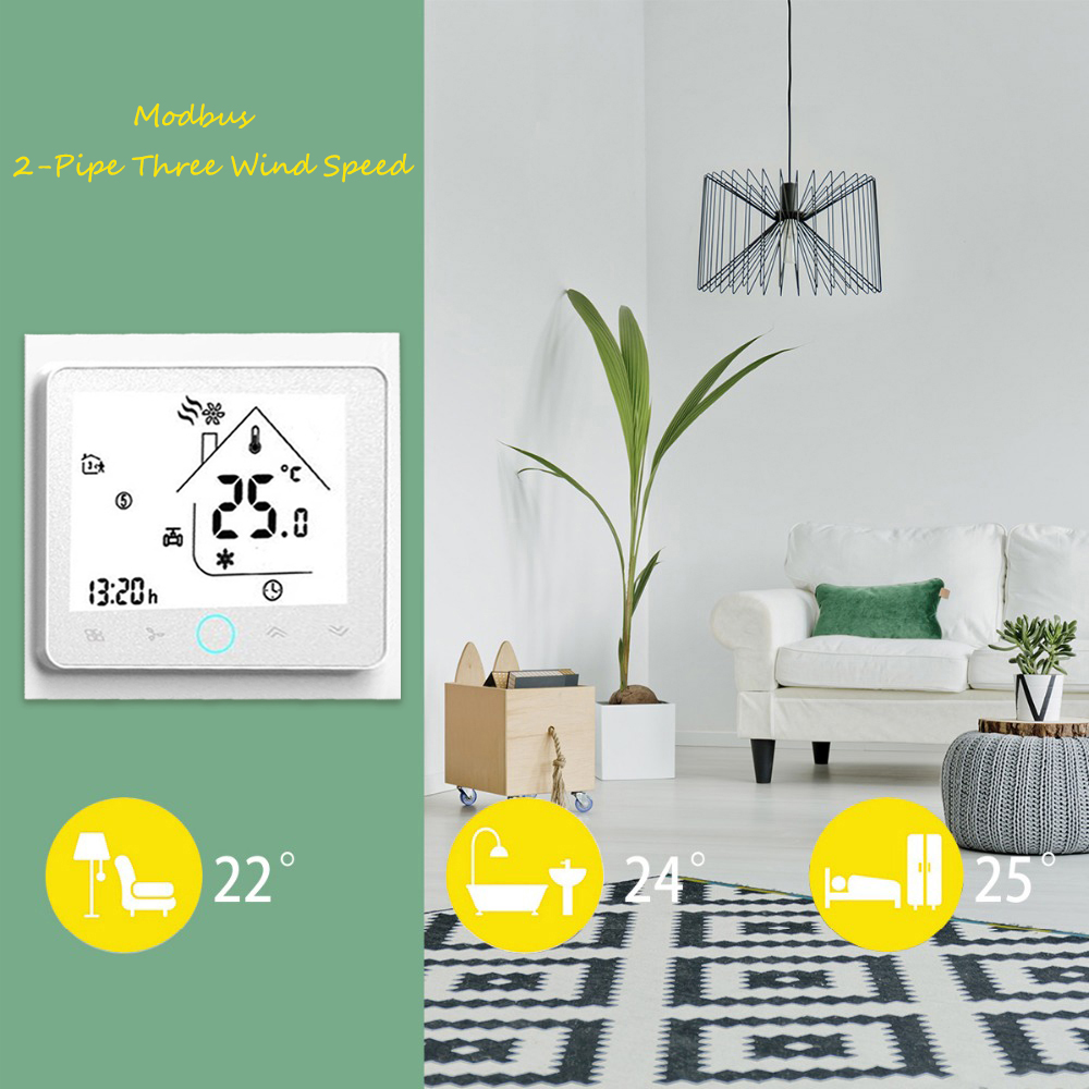 Thermostat Central Air Conditioner 2-Pipe Three Wind Speed Modbus BAC-002ALN LCD Touch Screen Home Room Temperature Controller