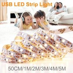 5V lumière LED bande USB 2835 SMD Fita ruban LED bande lumineuse Flexible lampe TV Led rétro-éclairage éclairage chambre armoires de cuisine lampe
