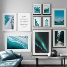 Sea Beach Mountain Forest Aurora Quotes Wall Art Canvas Painting Nordic Posters And Prints Pictures For Living Room Decor