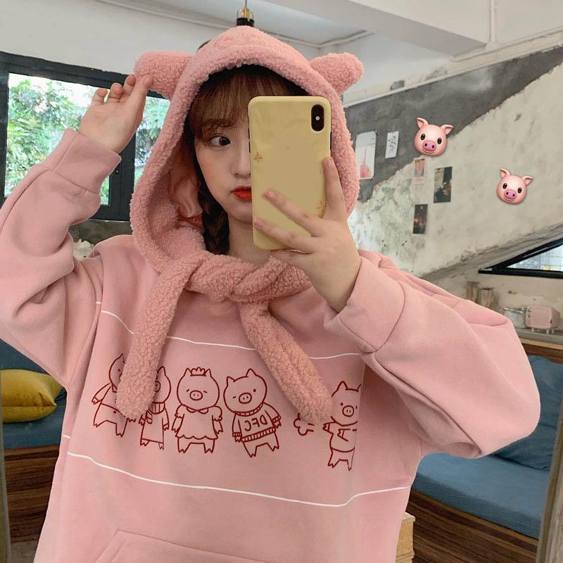 Cute Korean Version Women Hoodies Sweatshirt Autumn Winter Plus Velvet Long Sleeve Student Jersey Cartoon Pig Hooded Pullovers