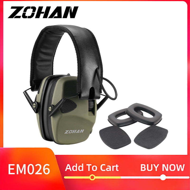 ZOHAN Electronic Earmuff NRR22DB Single Microphone Hunting Earmuffs Tactical Shooting Hearing Protection And Replacement Ear Cup