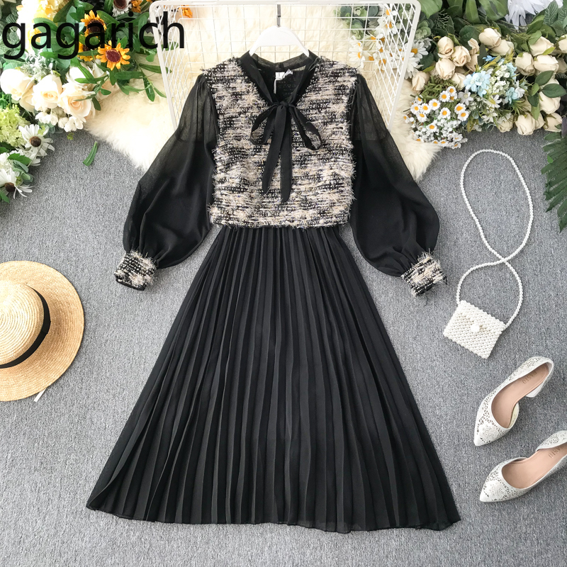Gagarich Women Suits Spring Autumn New Tweed Sleeveless Vest Ladies Elegant Chiffon Pleated Bow Tie Dresses Two Piece Sets