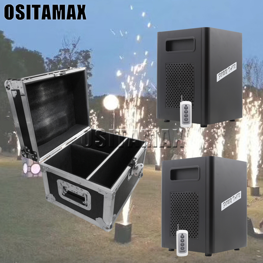 2pcs+flightcase+10 Powder Cold Flame Firework Fountain 400w High Jetting Indoor Outdoor Professional Cold Firework Machine