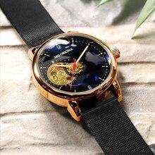 Reloj Hombre אוטומטי שעונים Mens אופנה ספורט להקת רשת נירוסטה שלד מכאני שעוני יד שעון יד לגברים