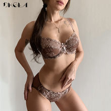 Baru Sexy Bra Celana Dalam Set Plus Ukuran Bra Ultrathin Underwear Set Transparan Bra Wanita Renda Lingerie Set Bordir Coklat(China)