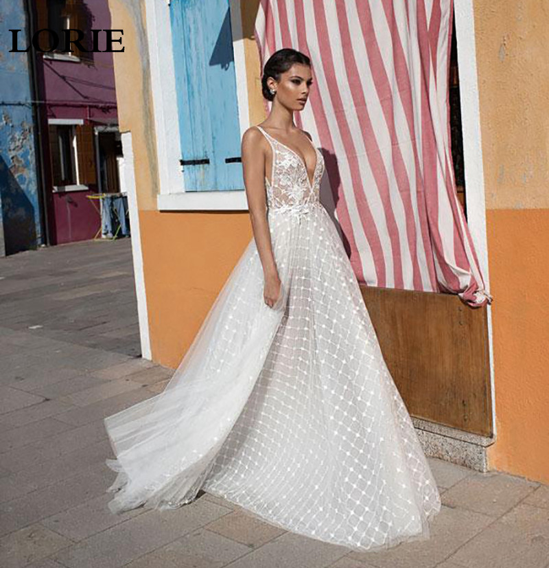 LORIE Princess Wedding Dress A Line Lace Wedding Gowns Sexy V Neck Appliques Boho Bridal Dresses Vestidos De Novia