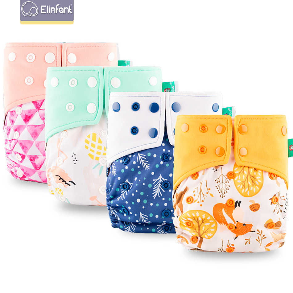 Elinfant 1pcs Washable Baby Cloth Diaper+1PC Insert  Pocket Waterproof Cartoon Owl Baby Diapers Reusable Nappy Suit 0-2years