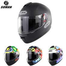 Soman Full Face Helmet DOT Matte Black Motorcycle Helmet Coo