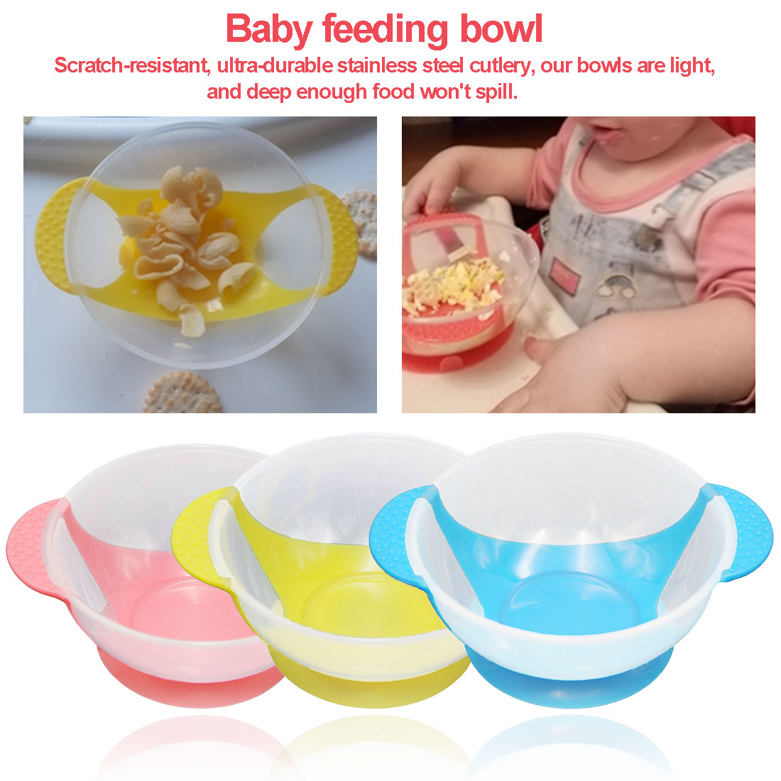 Infant Baby Feeding Training Bowl Cartoon Non-slip Double Ear Feeding Tableware Children Plate Suction Cup Bowl