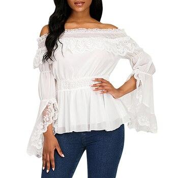 цена на Lolita Shirts Vintage Lace Blouses Women Flare Sleeve Cute Lolita Blouse Gothic Ladies Tops Clothing Summer Blouse Shirt Female