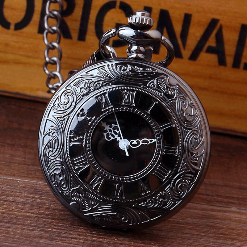 Retro Bronze Vintage Pocket Watch Necklace Chain Pendant Black Antique Steampunk Mens Quartz Pocket Watches Relogio De Bolso New