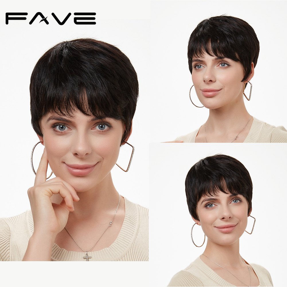 FAVE Short Hair Wig Pixie Cut Wig Brazilian Remy Human Hair Wigs For Women Ocean Wavy Wig High Density Dropshipping Acceptable