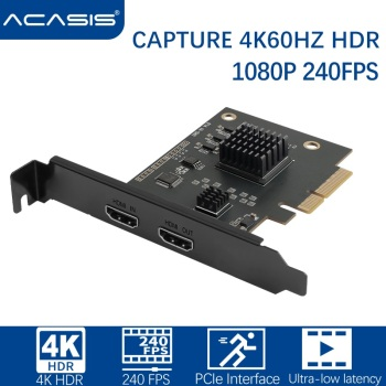 Acasis PCIe HDMI-compatible Video Capture Card 4K60 HZ HDR PCIe Interface 2K144 1080p240 PS5 Bulid-in Capture Audio Video Source 1