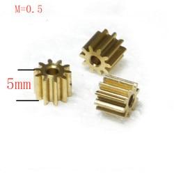 Engranaje de latón 10 unids/lote, 0,5 M, 10 11 12 13 14 15 16 17 18 19 20 dientes, engranaje de Motor, piñón de engranaje de latón metálico