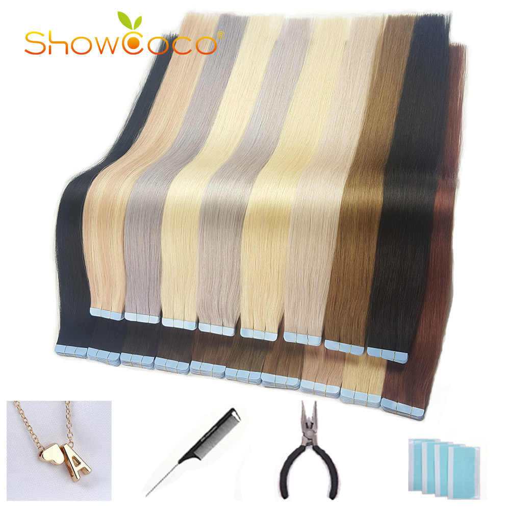 Showcoco Zomer Koop Tape In Human Hair Extension Real Rechte Machine Gemaakt Remy Haar 16-24 Inch Adhensive extension 20/40Pcs