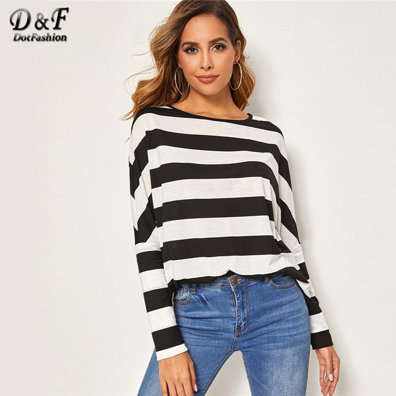 Dotfashion Casual Black And White Stripe Print T-shirt Women 2019 Autumn Colorblock Tee Tops Ladies Drop Shoulder Two Tone Top
