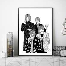 Холст настенное искусство портрет абстрактный постер черно белая