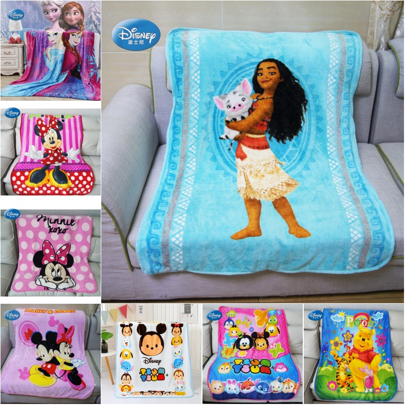 Disney Soft Flannel Moana Pua Teal Blue Hawaii Stitch Blankets For Girls Boys Children Gift Throw 100x140cm Bedroom On Bed Sofa