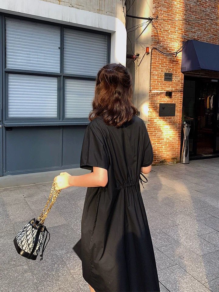Workwear Shirt Collar Dress WOMEN'S Short Sleeved Summer Korean-style Loose-Fit Lace-up Waist Hugging Students Black And White W