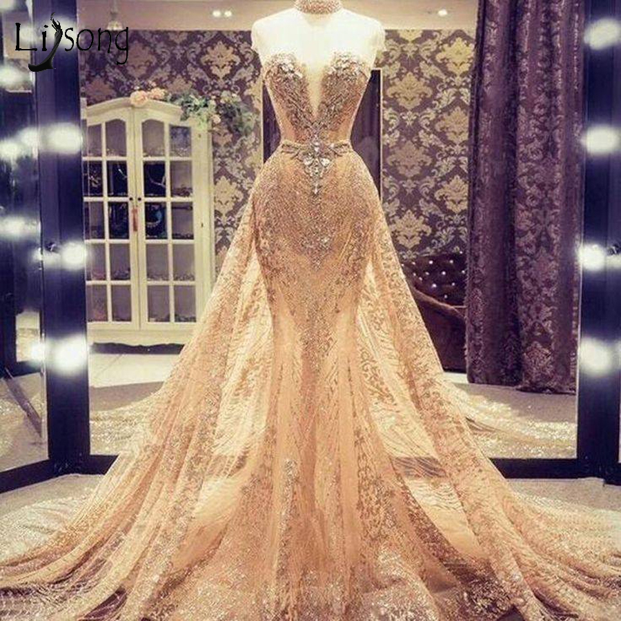Gorgeous Gold Sparkle Mermaid Wedding Gowns Crystal Lace Bridal Dresses With Detachable Train Prom Gowns Vestido De Festa