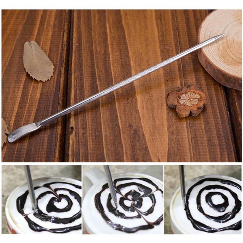 Stainless Steel Coffee Pull Pin Cappuccino Latte Espresso Coffee Decorating Art Pen Coffee Mixer Tool