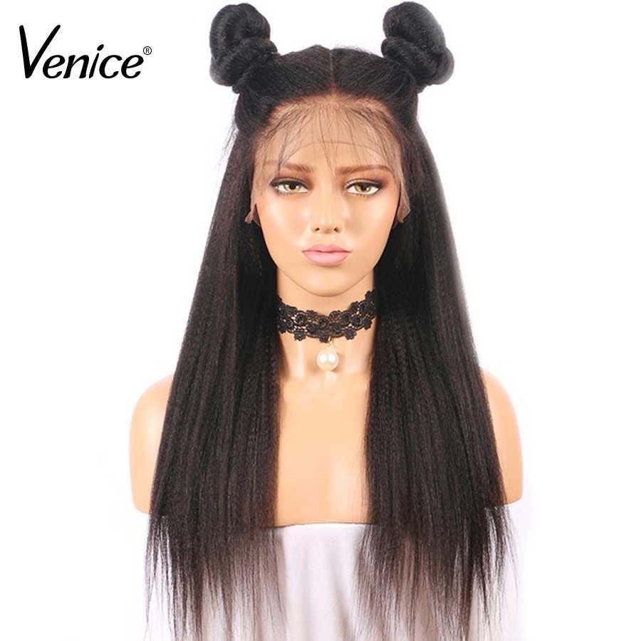 Венеция 360 парик с кружевом с волосами младенца перуанские парики человеческих волос Кудрявые прямые натуральные черные цвета для женщин Remy