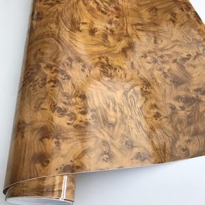 Image 5 - 50x200/300cm Glossy PVC Furniture Wood Grain Car Wrap Car Film Internal Stickers Waterproof Wood Vinyl Sticker