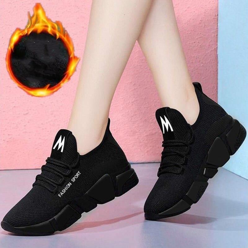 Women's Sneakers Spring And Autumn Breathable Sneakers Plus Velvet Versatile Cloth Shoes Student Ladies Cotton Shoes Casualshoes