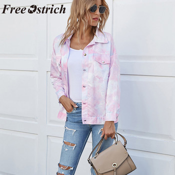 FREE OSTRICH Coat Women Tie-Dye Printed Long Sleeve Ladies Jacket Casual Outerwear пальто женское Drop Ship Women Coat Drop Ship