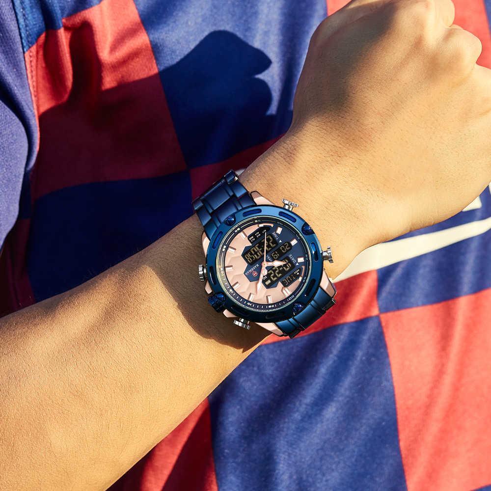 KADEMAN في الهواء الطلق رجالي ساعة كامل الصلب حزام LED العرض المزدوج فريد لكرة القدم تصميم موضة كوارتز ساعة اليد مقاوم للماء 30ATM