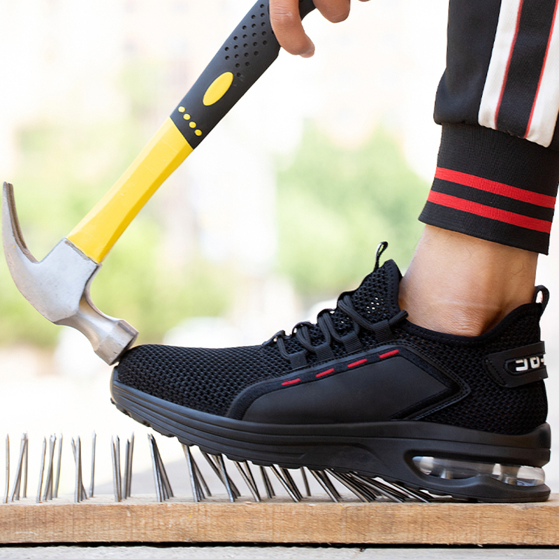 Breathable Men Work Safety Shoes Anti-smashing Steel Toe Cap Working Boots Construction Indestructible Work Sneakers Men Shoes 3
