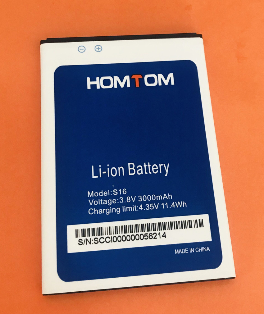Used Original 3000mAh <font><b>Battery</b></font> Batterie Batterij Bateria For <font><b>HOMTOM</b></font> <font><b>S16</b></font> MTK6580 Quad-Core image